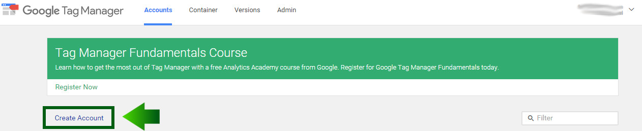 create google tag manager account